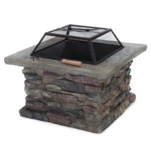 Corporal 28.50 in. x 22.20 in. Square Natural Stone Fire Pit