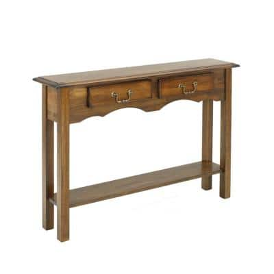 Tyler 46 in. Burnished Walnut Standard Rectangle Wood Console Table with Drawers