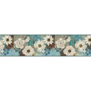 Septimus Blue Gardenia Blue Wallpaper Border