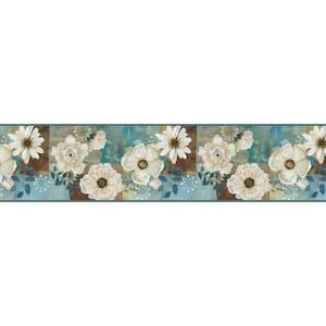 Septimus Blue Gardenia Blue Wallpaper Border Sample