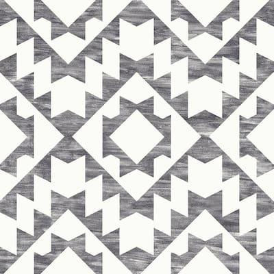 Fantine Black Geometric Paper Strippable Wallpaper (Covers 56.4 sq. ft.)