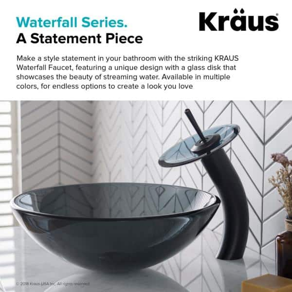 Kraus Single Hole Single Handle Low Arc Vessel Glass Waterfall Bathroom Faucet In Oil Rubbed Bronze With Glass Disk In Gray Kgw 1700orb Blfr The Home Depot