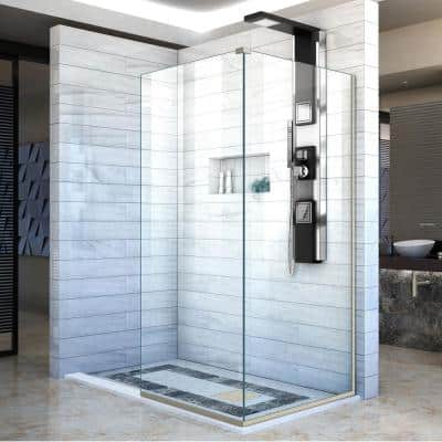Linea Two 30 in. x 72 in. Semi-Frameless Glass Panels in Brushed Nickels