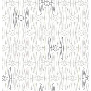 Star Wars White and Grey Tie Fighter Peel and Stick Wallpaper (Covers 28.29 sq. ft.)