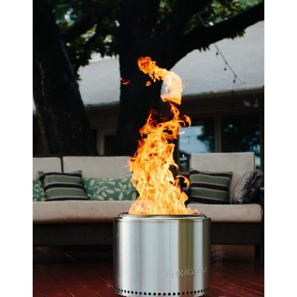 Smoke-Free Firepit Bowl for Wood Pellet with Stand for Outdoor Campfire Flame or BBQ on Patio Garden Backyard INNO STAGE Stainless Bonfire Fire Pit with Portable Carrying Storage Bag M