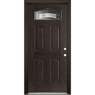 36 in. x 80 in. Croxley Camber Fan Lite Left Hand Oak Grain Textured Fiberglass Prehung Front Exterior Door w/ Brickmold