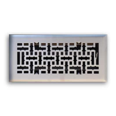 4 in. x 10 in. Modern Contempo Floor Diffuser, Satin Nickel
