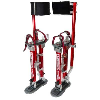 Buildman 18 in. to 30 in. Aluminum Adjustable Self-Locking Drywall Stilts with Anti-Fatigue Straps, 225 lbs. Capacity