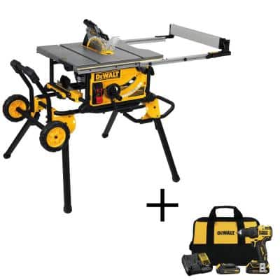 15 Amp Corded 10 in. Job Site Table Saw with Rolling Stand and Bonus Atomic 20-Volt Lithium-Ion 1/2 in. Drill Driver Kit