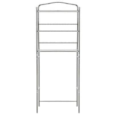 24 in. W x 10.5 in. D x 61 in. H Freestanding Space Saver Over the Toilet Bathroom with 3-Tier in Silver