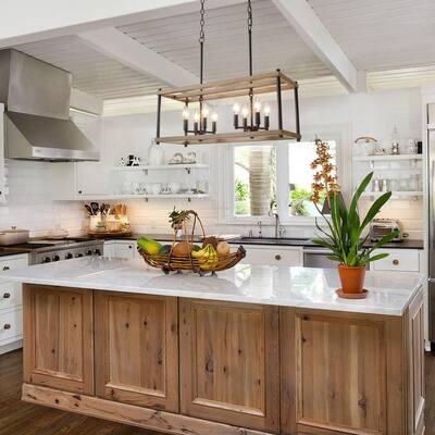 Araphi Black Farmhouse Chandelier 8-Light Transitional Kitchen Pendant Light Candle Chandelier with Faux Wood Accents