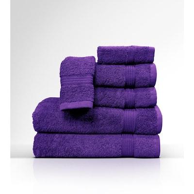 6-Piece Purple Geometric 100% Cloth Wash Hand and Bath Towels Set