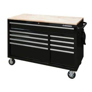 52 in. W 9-Drawer, Deep Tool Chest Mobile Workbench in Gloss Black