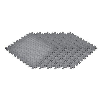 Gray 24 in. x 24 in. x 0.47 in. Foam Interlocking Floor Mat (6-Pack)