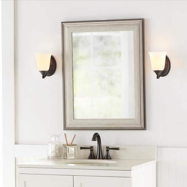 Home Decorators Collection 23 In W X 29 In H Framed Rectangular Anti Fog Bathroom Vanity Mirror In Two Toned Pewter 81158 The Home Depot