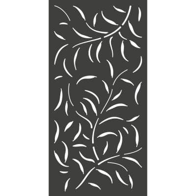 6 ft. x 3 ft. Charcoal Gray Composite Decorative Fence Panel Featured in Acacia Design