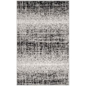 Adirondack Silver/Black 3 ft. x 5 ft. Solid Gradient Area Rug