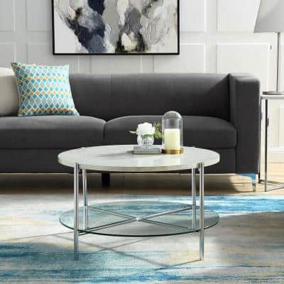 32 in. White/Chrome Medium Round Faux Marble Coffee Table with Shelf