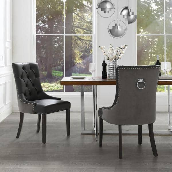 Gray Leather Dining Room Chairs Off 70, Leather Dining Room Chair