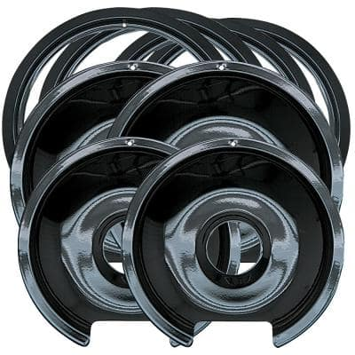 6 in. 2-Small and 8 in. 2-Large Drip Pan and Trim Ring in Porcelain (8-Pack)