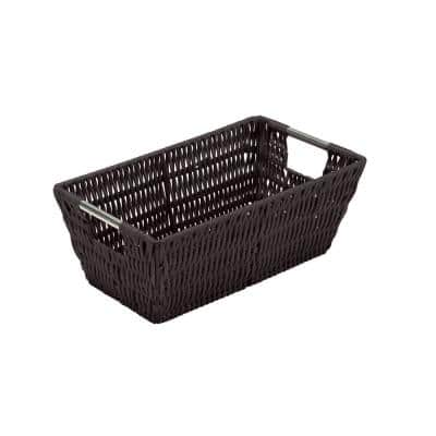 4.5 in. x 6.5 in. Brown Small Shelf Storage Rattan Tote Basket