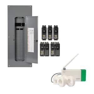 Homeline 200 Amp. 40-Space 80-Circuit Indoor Main Breaker Qwik-Grip Plug-On Neutral Panel, Wiser Energy Monitor