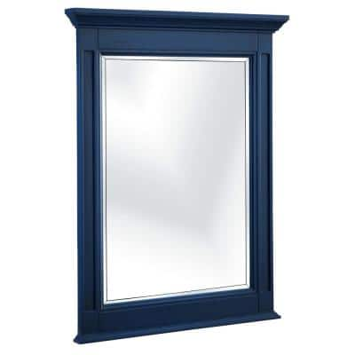 25 in. W x 32 in. H Framed Rectangular Beveled Edge Bathroom Vanity Mirror in Royal Blue