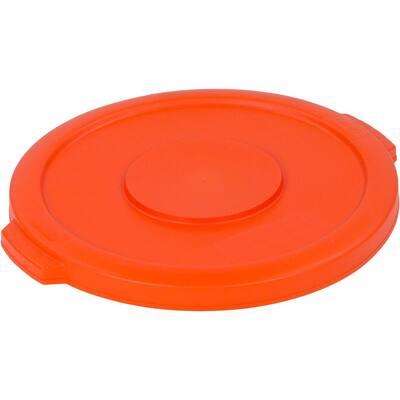 Bronco 10 Gal. Orange Round Trash Can Lid (6-Pack)