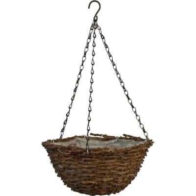 12 in. Round Vine Hanging Basket with Brown Chain