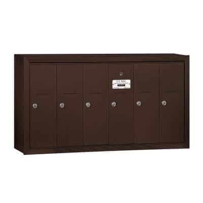 Bronze Surface-Mounted USPS Access Vertical Mailbox with 6 Doors