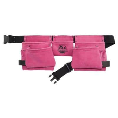 11-Pocket Suede Leather Work Apron in Pink