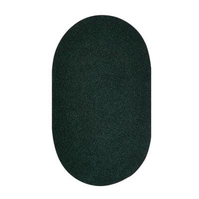 Chenille Braid Collection Durable Stain Resistant Reversible Emerald Green 30 in. x 50 in. Oval Solid Polyester Area Rug