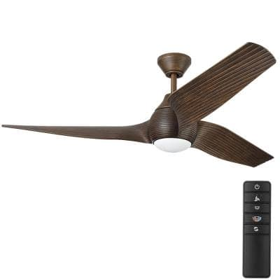 Kayden DC 60 in. White Color Changing Integrated LED Indoor/Outdoor Dark Oak Ceiling Fan with Light Kit and Remote