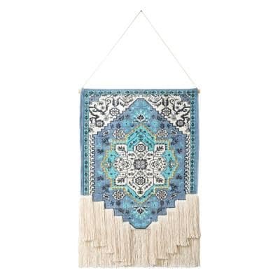 25.5 in. x 45 in. Teal/Blue/White Bright Boho Floral Woven Macrame Fringe Wall Hanging