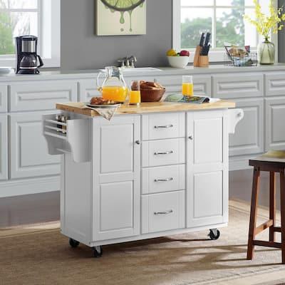 Elliott White Kitchen Cart with Natural Wood Top