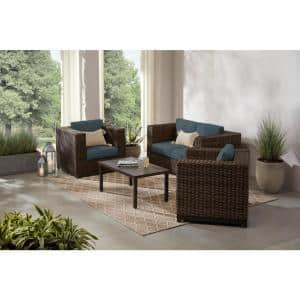 Fernlake 4-Piece Taupe Wicker Outdoor Patio Deep Seating Set with Sunbrella Denim Blue Cushions