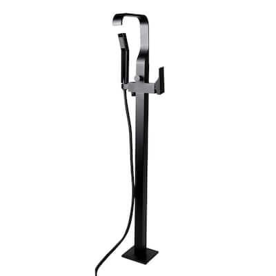 Single-Handle Freestanding Tub Faucet with sleek modern design in Black Matte