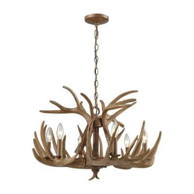 Elk 6-Light Wood Brown Chandelier