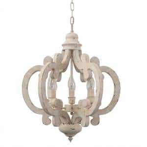 Cottage Chic Crown 6-Light Distressed White Wood Chandelier with Farmhouse Wooden Pendant