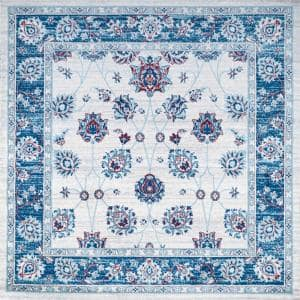 Modern Blue/Ivory/Red 6 ft. Square Persian Vintage Moroccan Traditional Area Rug