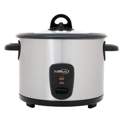 Deluxe 16-Cup Stainless Steel Rice Cooker with Stainless Steel Pot