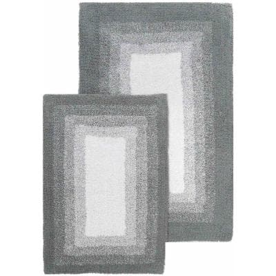 Whitney Ombre Reversible Hi Rise Grey 21 in. x 34 in. and 17 in. x 24 in. 2-Piece Bath Rug Set
