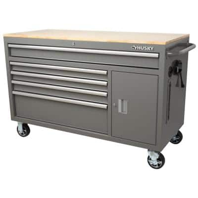 56 in. W 5-Drawer 1-Door, Deep Tool Chest Mobile Workbench in Gloss Gray with Hardwood Top