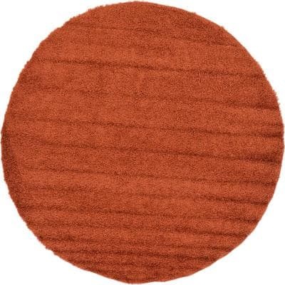 Solid Shag Terracotta 8 ft. Round Area Rug