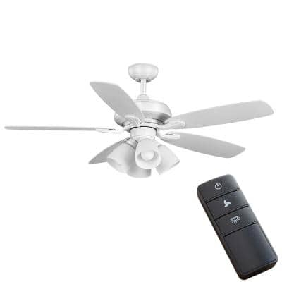 Hollis 52 in. Indoor LED Matte White Dry Rated Ceiling Fan with 5 Reversible Blades, Light Kit and Remote Control