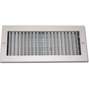 14 in. x 6 in. Steel Ceiling or Wall Register, White with Adjustable Single Deflection Diffuser