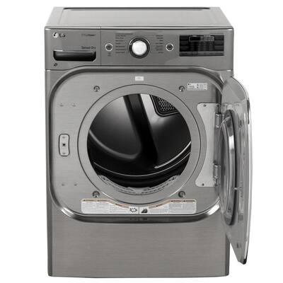 9.0 cu ft Mega Capacity Stackable Front Load Gas Dryer w/ TrueSteam, SteamFresh & Pedestal Compatible in Graphite Steel