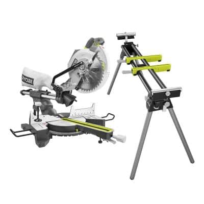 10 in. Sliding Miter Saw with LED and Miter Saw Stand with Tool-Less Height Adjustment