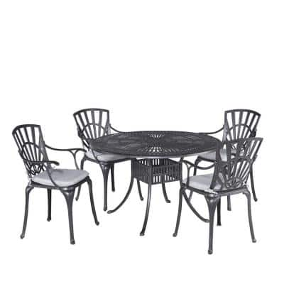 Grenada Charcoal Gray 48 in. 5-Piece Cast Aluminum Round Outdoor Dining Set with Gray Cushions