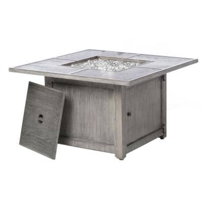 Cheyenne 40 in. x 25 in. Square Aluminum Propane Gas Fire Pit Chat Table with Glacier Ice Firebeads